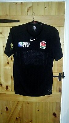 England Black Stretch Rugby Union World Cup Shirt By Nike Size Small - New