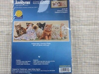 """janlynn cross stitch kit Kittens In A Row 106-46 20""""x8"""" Pre-owned Opened"""