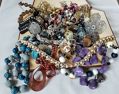 Vintage Jewelry Box LARGE LOT Junk Drawer Estate Necklace Bracelet Brooch GF 925