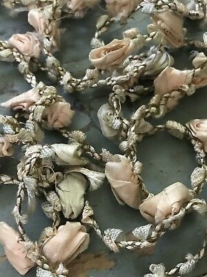 Vintage French Silk Ribbon Work Flower Roses Doll Sewing/Millinery Trim