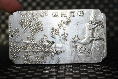 Handwork Exquisite China Miao Silver Carved Spring Crane & Deer Beauty Pendant