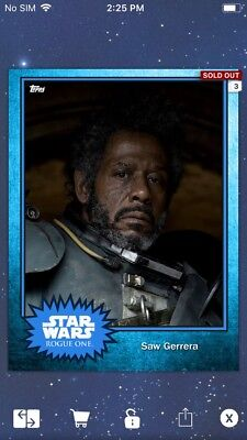 Topps Star Wars Digital Card Trader Blue Steel Saw Gerrera Base 4 Variant