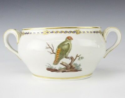 Antique French Fine Porcelain Hand Painted Exotic Bird Double Handled Bowl EDP