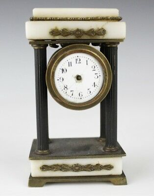 Antique French Style Miniature Marble & Brass Column Clock AS IS for Parts SMS