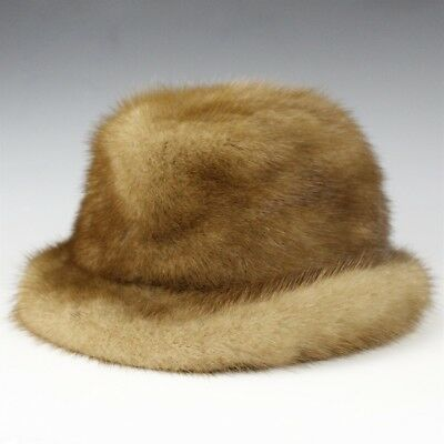 Vintage Cecile Original New York NY Brown Animal Fur Duchess Bucket Cap Hat RRR