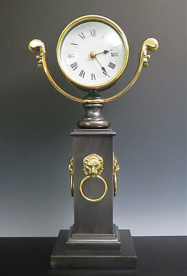 HORCHOW Italy Neoclassical Style MANTEL CLOCK Lion Head Bronzed Brass