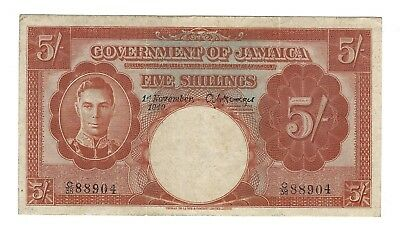 1940 Jamaica 5 Shillings, P-37a, Choice EF 100% Original Paper, Underrated Type