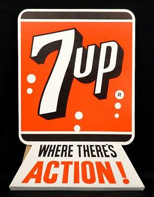 Vintage Original 7Up Old Store Cardboard Counter Display Stand-Up Sign 7-Up