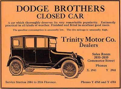 1919 Dodge Brothers Motor Car Co, Detroit, Michigan Color Auto Advertisement