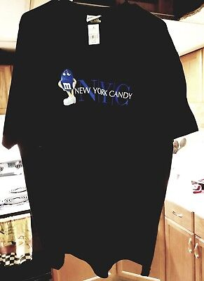 """Vintage M&M's World """"NEW YORK CANDY"""" Character T-shirt Tee 2XL Black New w/tags"""