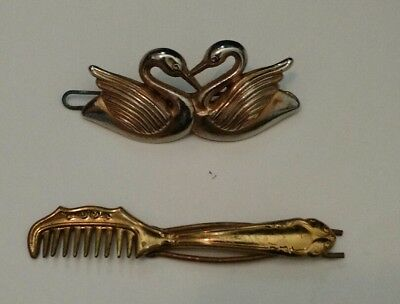 vintage metal gold tone hair barrette lot of 2 swan and hair brush comb theme