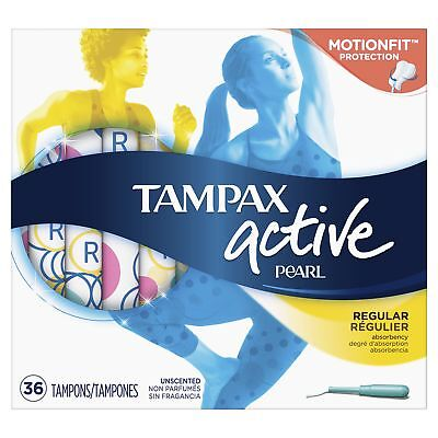 Tampax Pearl Active Plastic, Regular Absorbency, Unscented Tampons, 36 Co... New