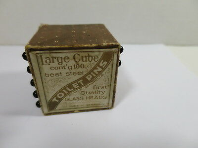 Antique Black Glass Victorian Toilet Pin Cube Made in Germany Graphics Pins