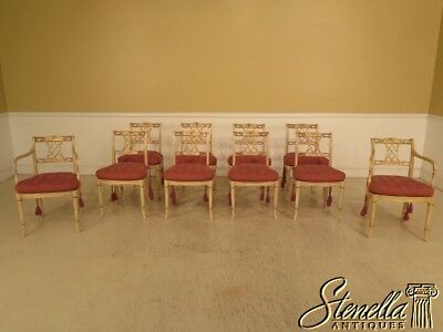 L28995EC: Set Of 10 Regency Paint Decorated Dining Room Chairs