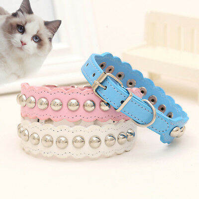 Flower Adjustable Small Pet Dog Leather Collar Puppy Cat Buckle Neck Strap !