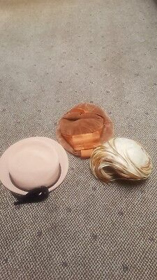 Lot of 3 Vintage Cocktail Flapper Style Hats/French Room/Catalina/Handmade