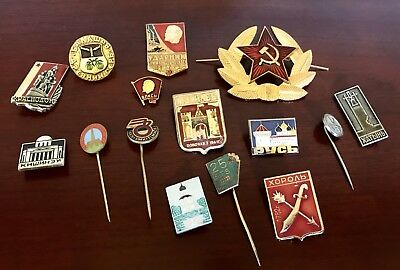 LOT OF 15~ANTIQUE Gold ENAMEL RUSSIAN SOVIET UNION USSR BROOCHES PINS STICK PINS