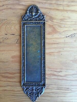 Antique Victorian Brass Finger Plate Door Push Plate...price Reduced!