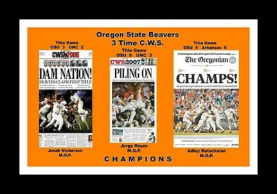 buy online 3d264 4e087 Oregon State Beavers 3 Time Cws Champions Matted Pic Of Newspaper Front  Pages  2