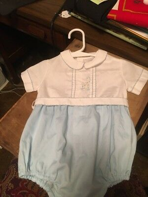 Beautiful Infant Boys Blue And White Romper With Crochet For Trim EUC