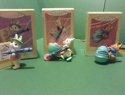3 Hallmark Easter Ornaments & 1 eggspress train CRAYOLA CRAYON