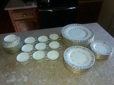 Vintage Minton China Printemps 50 Pc. Dinnerware Dish Set or Service