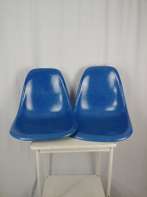 Set of 2 Vintage Blue Herman Miller Fiberglass Shell Chairs Shells Only MCM