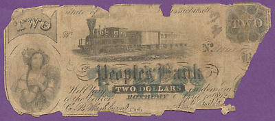 The People's Bank, Roxbury MA, Obsolete $2, 1862, True Auction, No Reserve