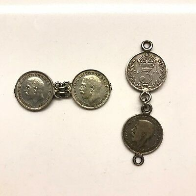 Great Britain Silver Three Pence Coin Bracelet Fragments