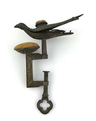 Antique Victorian SEWING BIRD Clamp ~ Double Pin Cushion