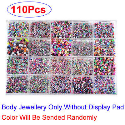 Chic 110pcs Bulk Body Piercing Eyebrow Jewelry Belly Tongue Lip Nose Bar Ring AU