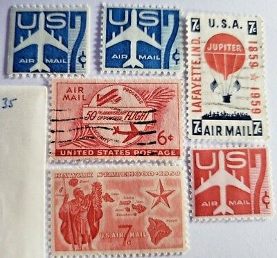 Lot of 6 US Air Mail Postage Stamps 1953 to 1960 NEW - USED