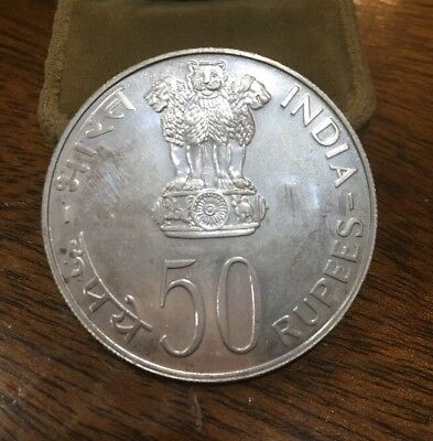 India Silver 50 Rupees 1975 Equality Development Peace Coin Bu Condition