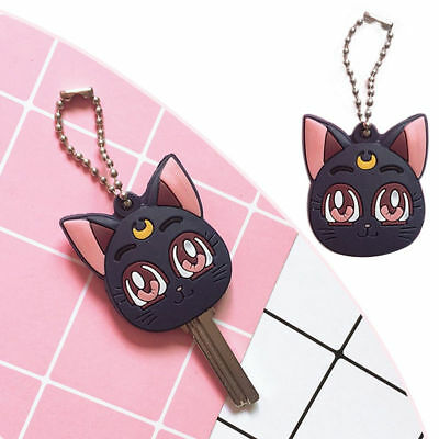 Anime Sailor Moon Luna Purple Cat Keychain Figure Pendant Cosplay Cute Keyring