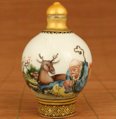 Rare chinese old Porcelain hand painting deer buddha statue snuff bottle noble
