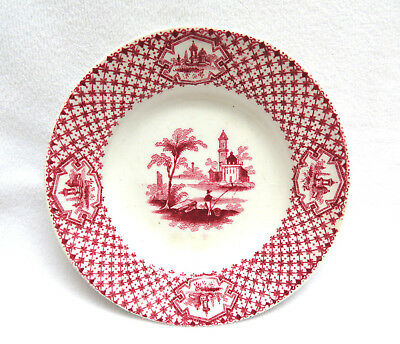Antique Adams Staffordshire England Pottery Butter Pat ~ Red Pink Transferware