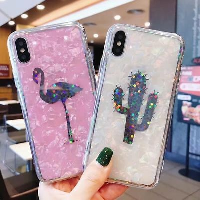 Laser Marble Shell Twinkle Flamingo Phone case for iphone XS MAX XR 7 8 plus X
