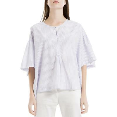 c5cfca16547344 Max Studio Womens Melina Blue Striped Split Neck Casual Top Shirt XS S BHFO  0159
