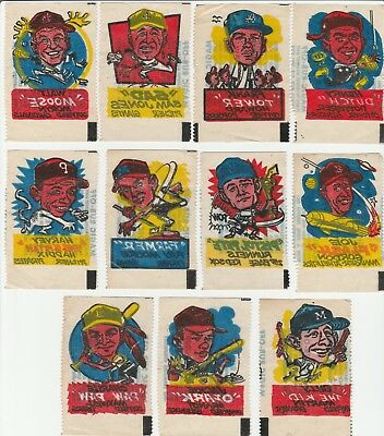 1961 Topps Magic Rub-Offs Lot of 11 Different, Lower Grade w/ Billy Martin