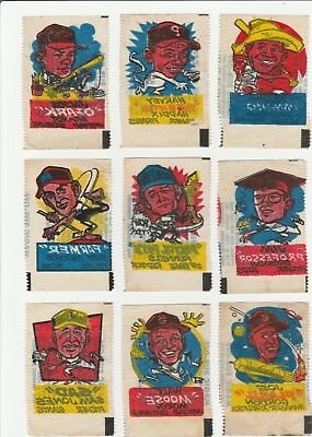 1961 Topps Magic Rub-Offs Lot of 9 Different, Lower Grade