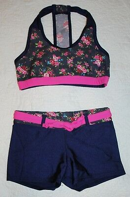 Girl's Dancewear Outfit Navy Pink Floral Top Shorts size XL EUC