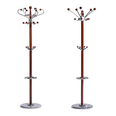 Natural Timber Wooden Coat Stand Hat Rack Clothes Jacket Bag Hanger Walnut