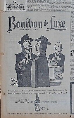 1953 newspaper ad for Bourbon de Luxe - Peter Arno cartoon, buying a case