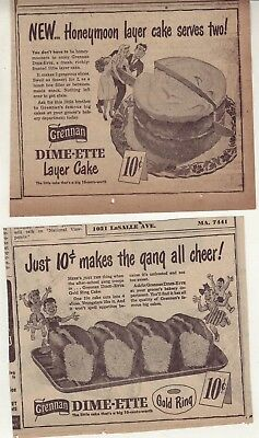 Two 1947 newspaper ads for Brennan Dime-ette cakes - Layer & Gold Ring cake