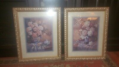Homco home interior picture set 'Flowers ' Great condition. Set Of Two