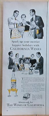 1955  magazine ad for California Wines - Merrier Happier Holiday with Sherry