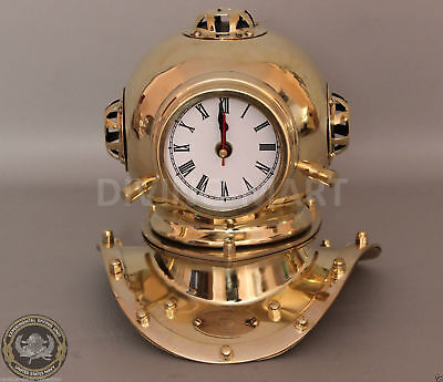 "Vintage Solid Brass Divers Helmet Clock Miniature Antique Reproduction 8"" Decor"