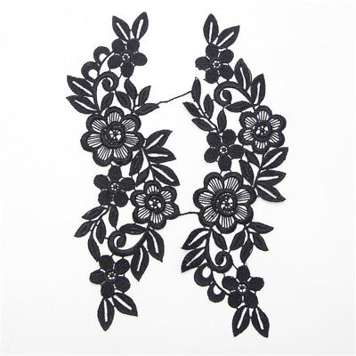 2 Colors 1 Pair DIY Wedding Lace Trim Applique Flower Leaves Sewing Craft Dress