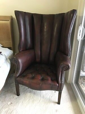 Antique 19th Century Tall Leather English Porter's Wingback Tufted Chair