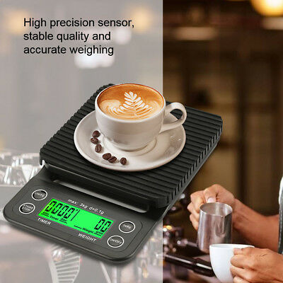 3kg 0.1g High Precision LCD Electronic Drip Coffee Gram Scale Kitchen Food Scale